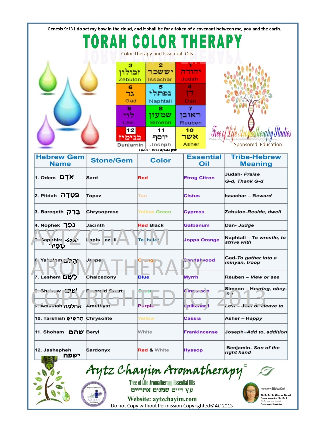 Torah color therapy chart exclusive and limited supply aytz chayim